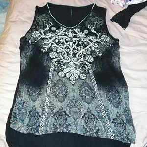 Black tank top with white and gray abstrac design